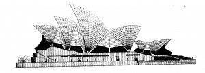 Drawing of the Side Elevation of the Sydney Opera House